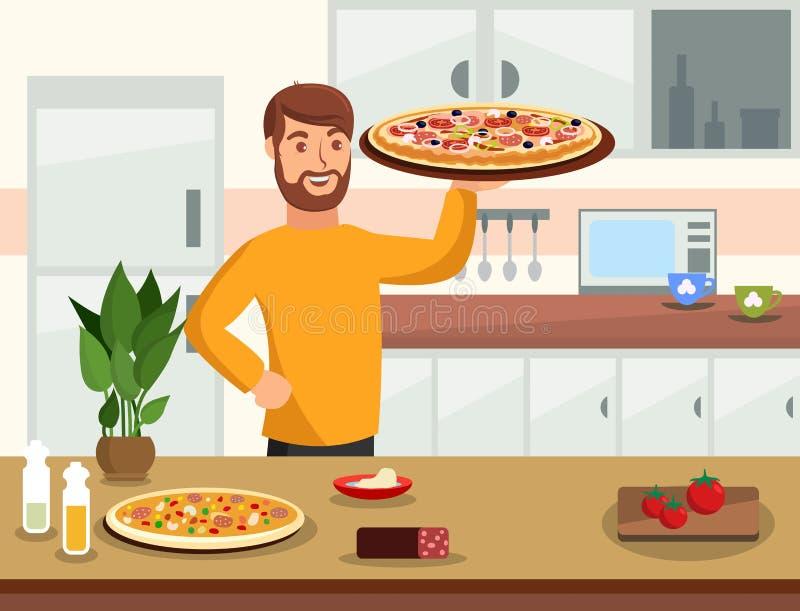 Cocinar en casa el ejemplo plano de la historieta del vector ilustración del vector