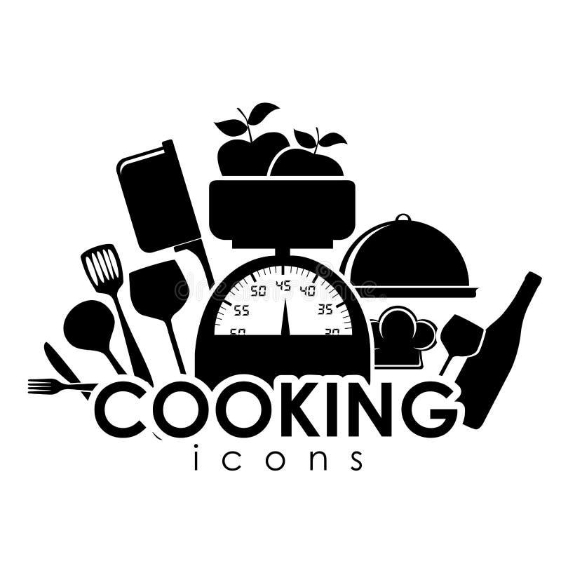 Cocinar iconos stock de ilustración