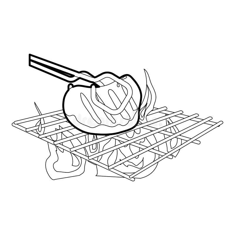 Cocinar la carne de vaca en esquema del icono de la barbacoa ilustración del vector