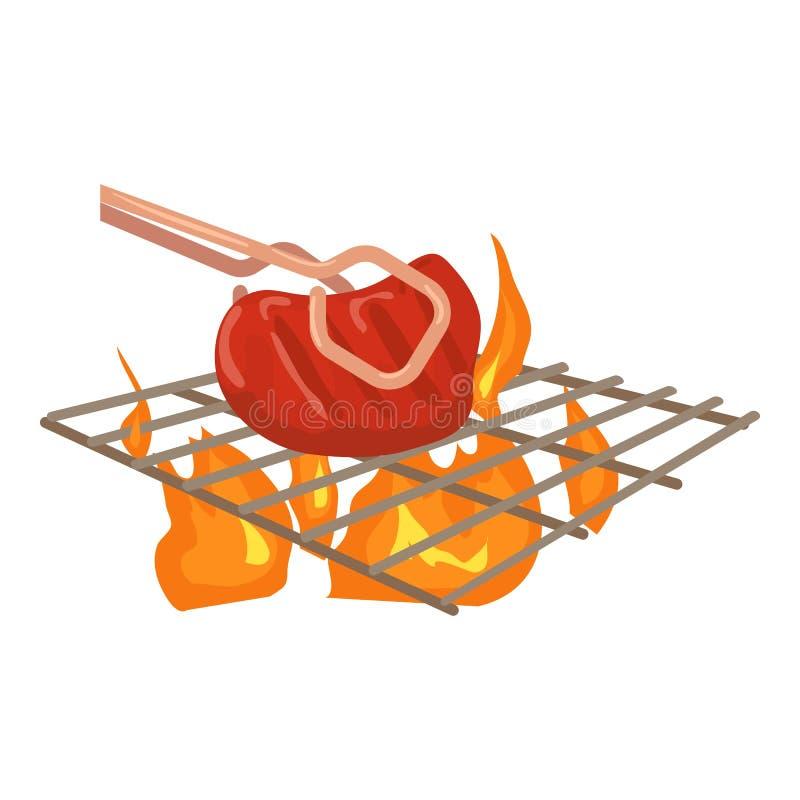 Cocinar la carne de vaca en icono de la barbacoa, estilo de la historieta libre illustration