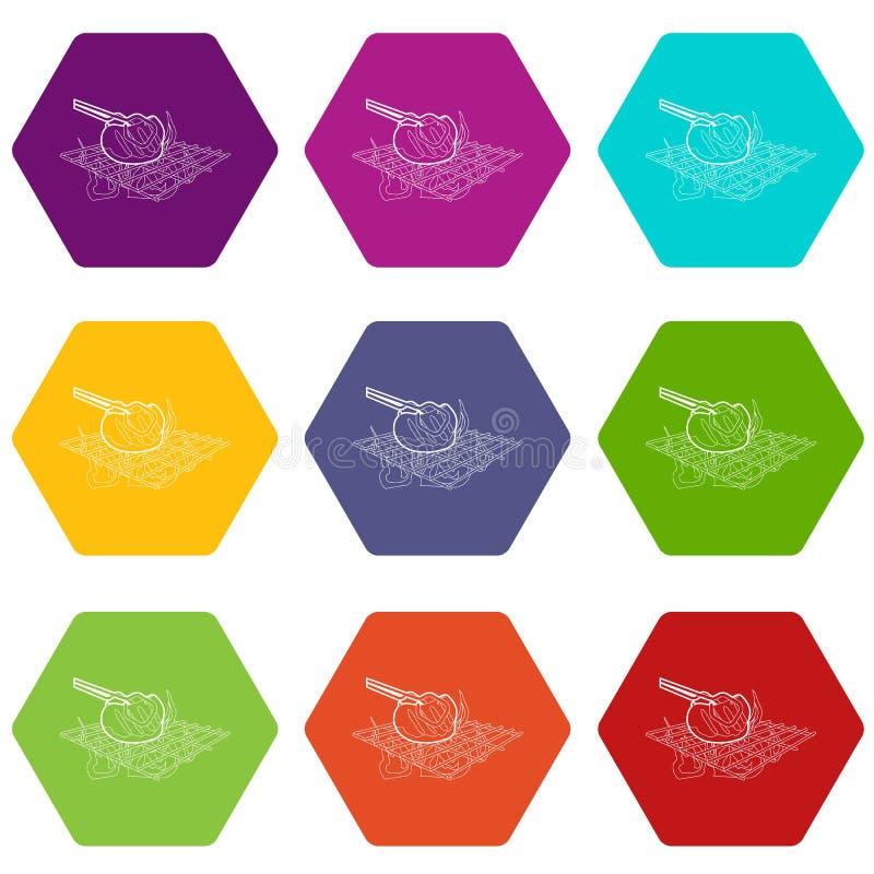 Cocinar la carne de vaca en iconos de la barbacoa fijó 9 ilustración del vector