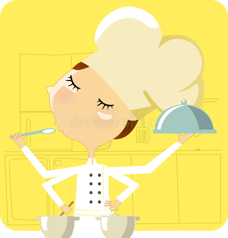Cocinar a la mujer stock de ilustración