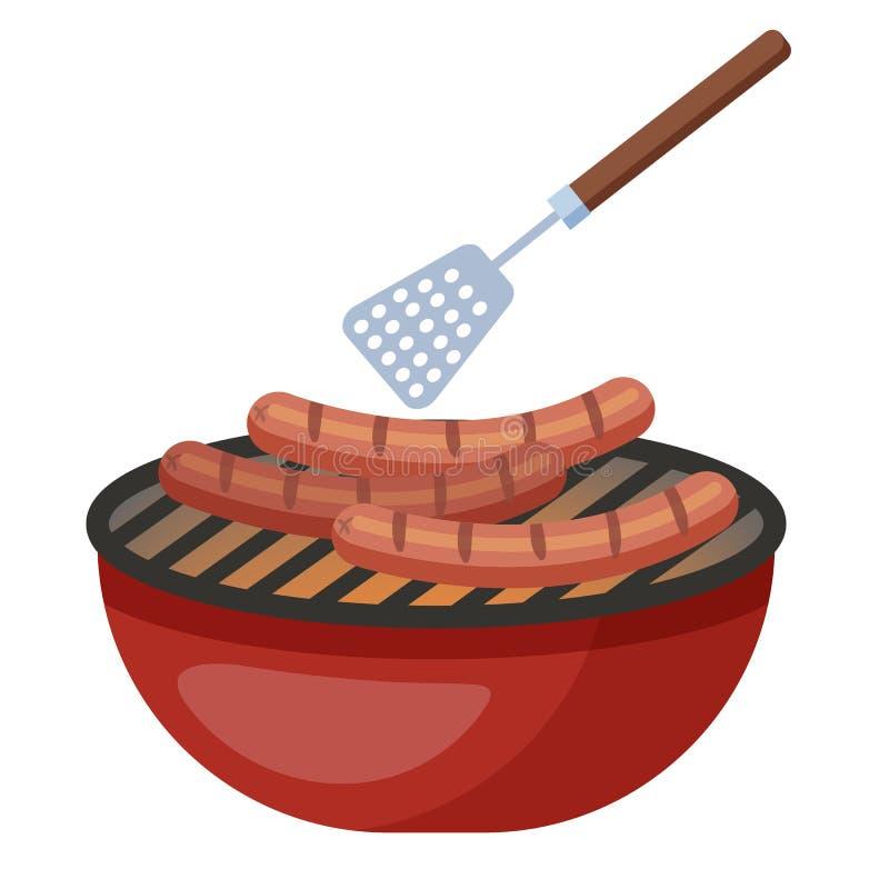 Cocinar la salchicha en el Bbq o la barbacoa Pierna de pollo frito con las fritadas y la ensalada stock de ilustración
