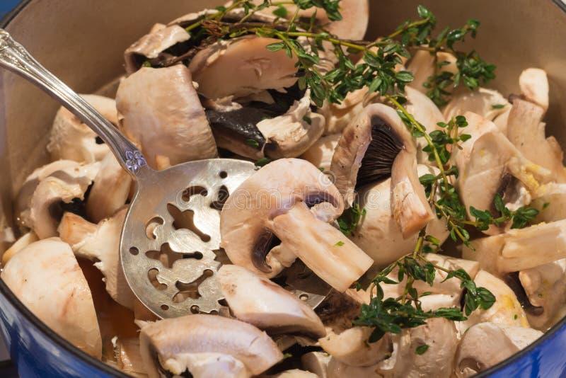 cocinar la sopa del mushrooom imagenes de archivo