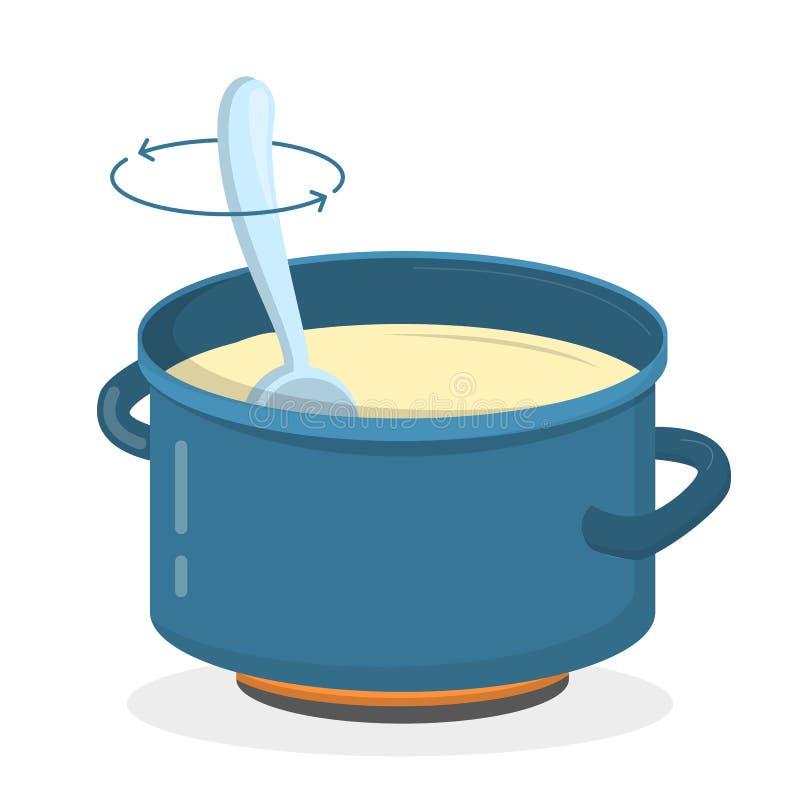 Cocinar la sopa o las gachas de avena en el pote ilustración del vector