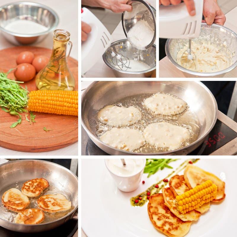Cocinar las crepes del maíz imagenes de archivo