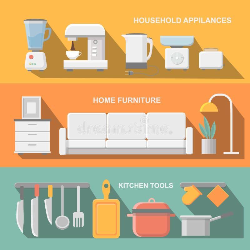 Cocinar las herramientas y el equipo del artículos de cocina, comidas del servicio, elementos de la preparación de comida stock de ilustración