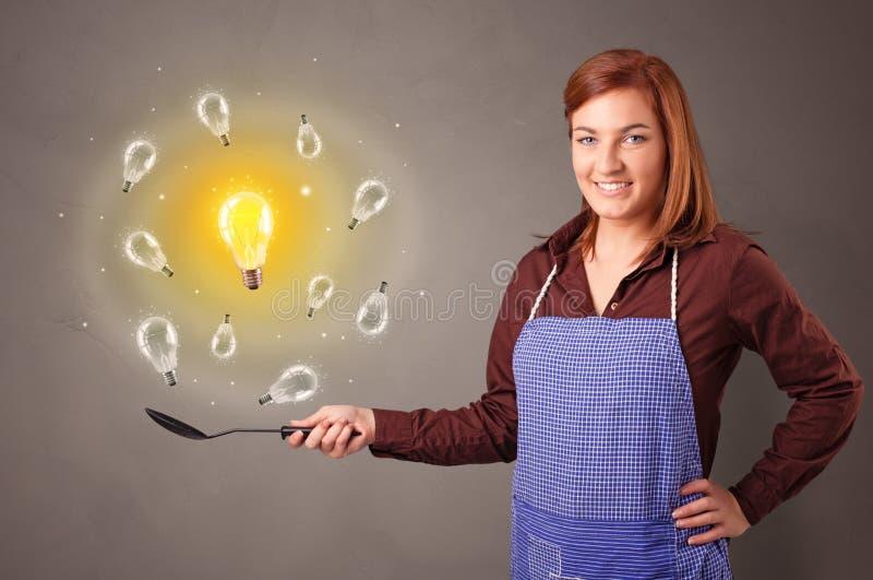 Cocinar nueva idea en wok imagenes de archivo