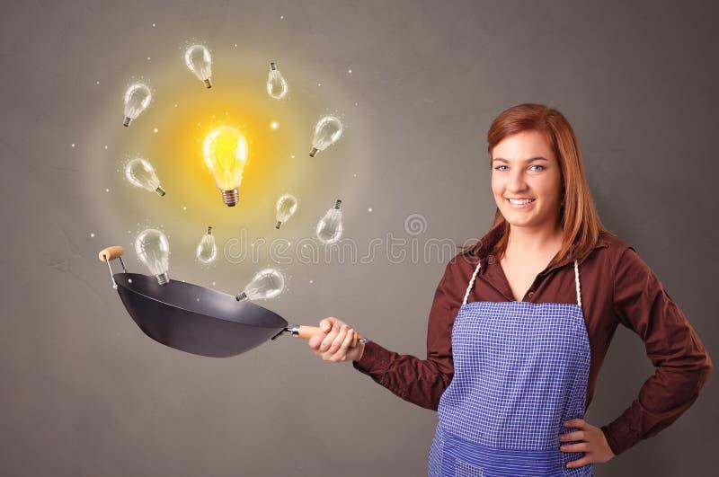 Cocinar nueva idea en wok imágenes de archivo libres de regalías