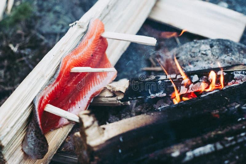Cocinar salmones salvajes en hoguera foto de archivo libre de regalías