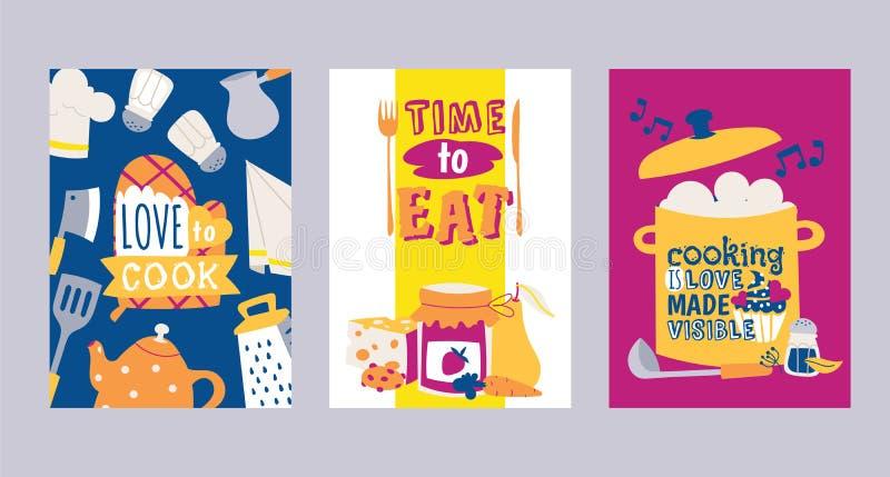 Cocinas y sistema del utensilio y de la comida del restaurante del ejemplo del vector de las tarjetas Amor a cocinar Hora de come stock de ilustración