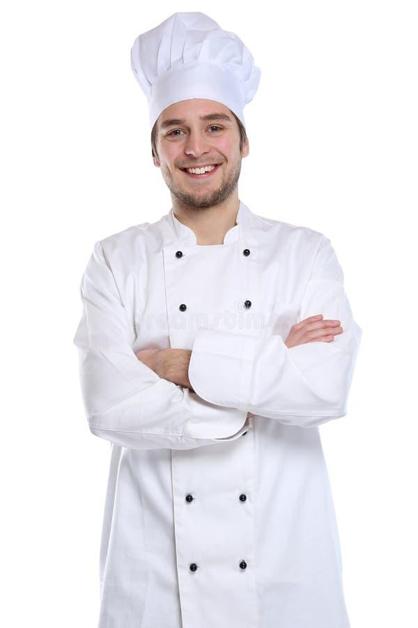 Cocine al aprendiz del aprendiz que cocina al hombre joven del trabajo aislado imagenes de archivo
