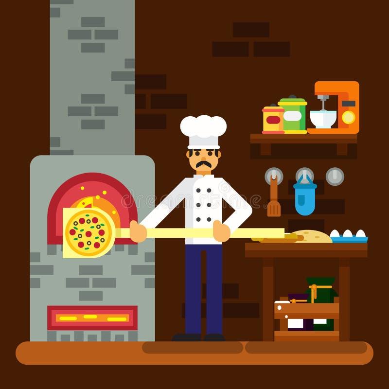 Cocine al panadero que cocina el ejemplo plano del diseño del fondo de la panadería del icono de la pizza stock de ilustración