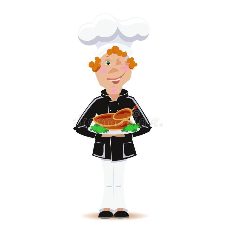 Cocine con el pollo frito de la acción de gracias stock de ilustración