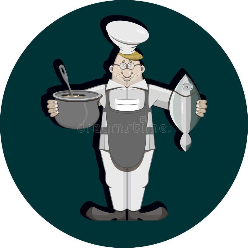 Cocine con los pescados ilustración del vector