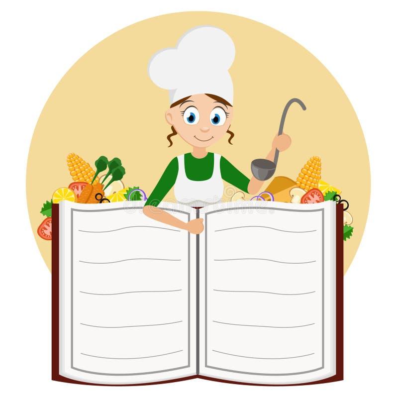 Cocine a la muchacha con una cucharón en sus manos que miran a escondidas hacia fuera de detrás un libro stock de ilustración
