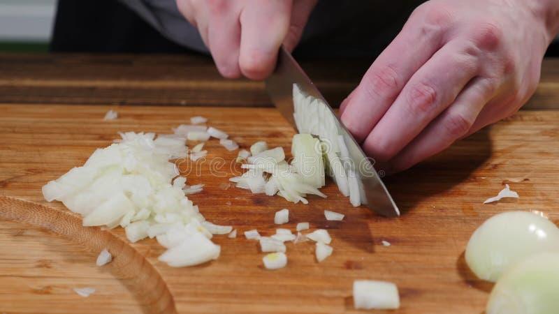 Cocine las cebollas de las rebanadas en una tabla de cortar Corte, natural foto de archivo libre de regalías