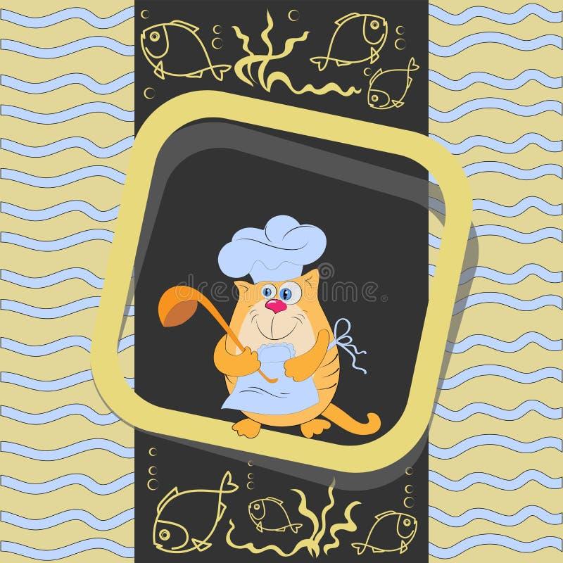Cocinero anaranjado del gato con una cucharón y un pescado ilustración del vector