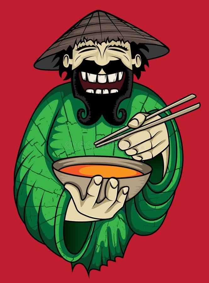 Cocinero asiático de risa que sirve la sopa tailandesa picante caliente stock de ilustración