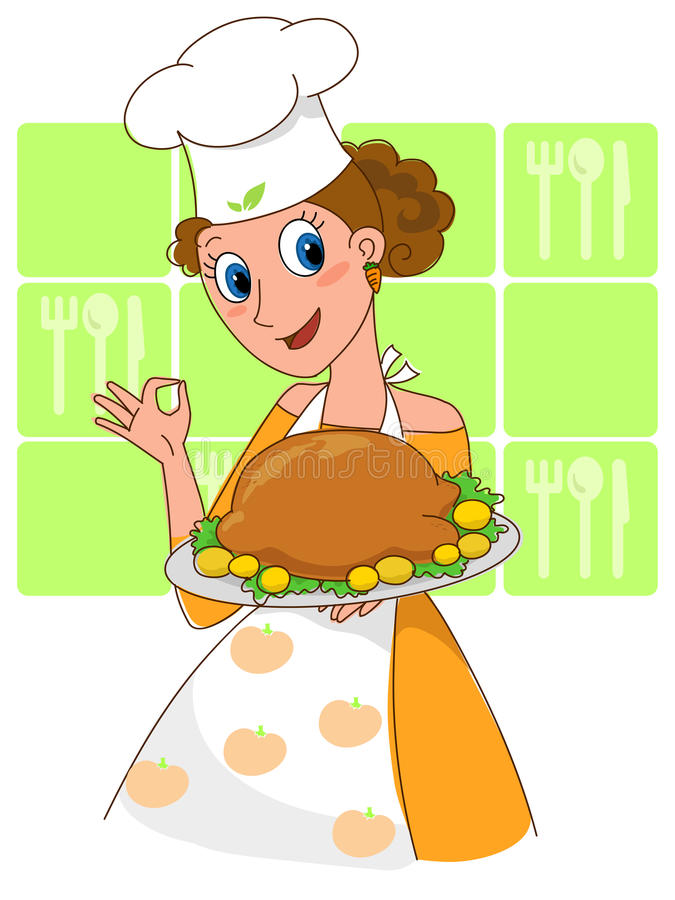 Cocinero bonito con el pollo de carne asada. stock de ilustración
