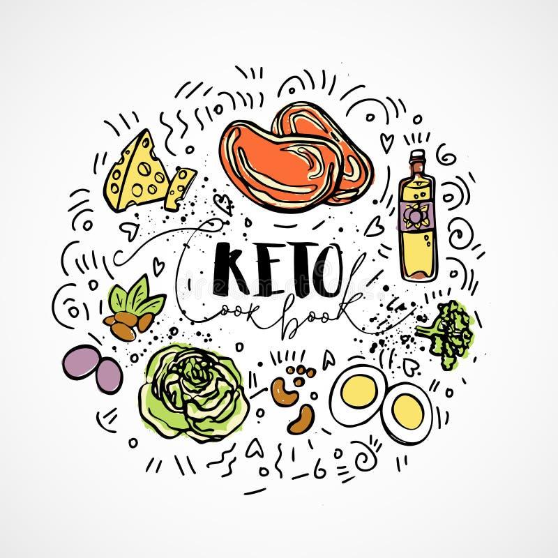 Cocinero Book del Keto - vector el ejemplo del bosquejo - concepto sano del bosquejo multicolor Cocinero sano Book de la dieta de libre illustration