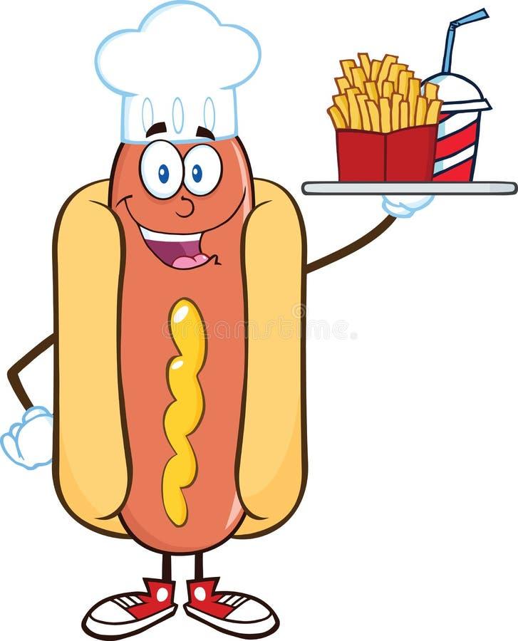 Cocinero Character Holding del perrito caliente un disco con patatas fritas y una soda ilustración del vector