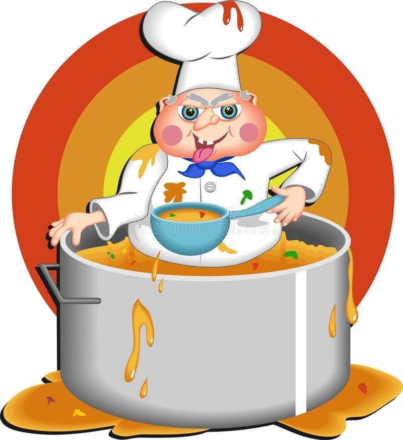 Cocinero codicioso stock de ilustración
