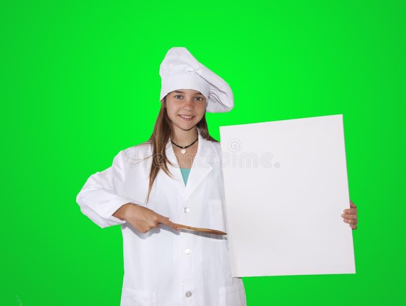 Cocinero con el cartel fotos de archivo