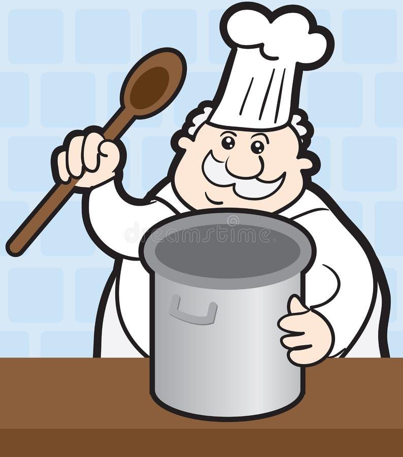 Cocinero con el crisol stock de ilustración