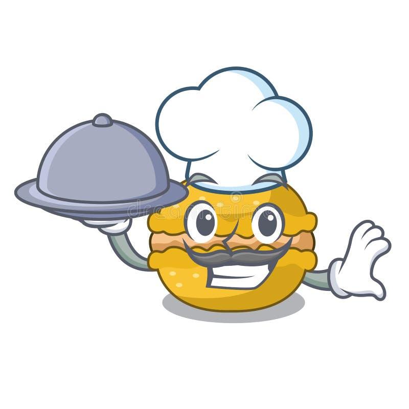 Cocinero con el plátano de los macarons de la comida encendido en el carácter divertido ilustración del vector