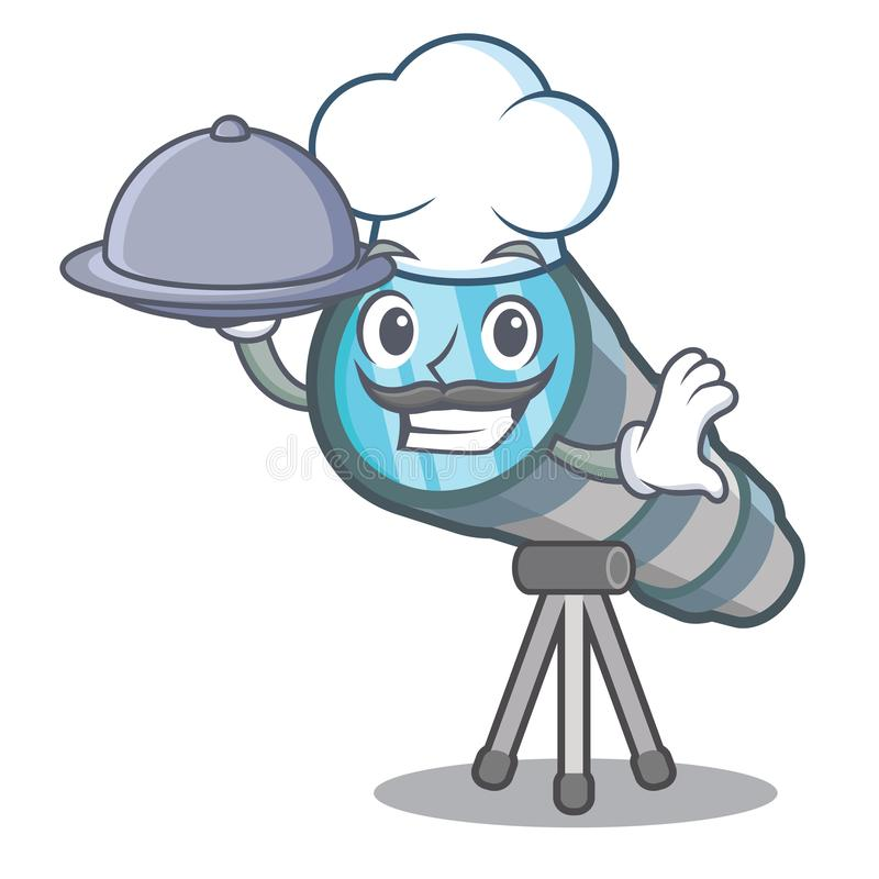 Cocinero con el telescopio miniatura de la comida sobre la tabla del carácter libre illustration
