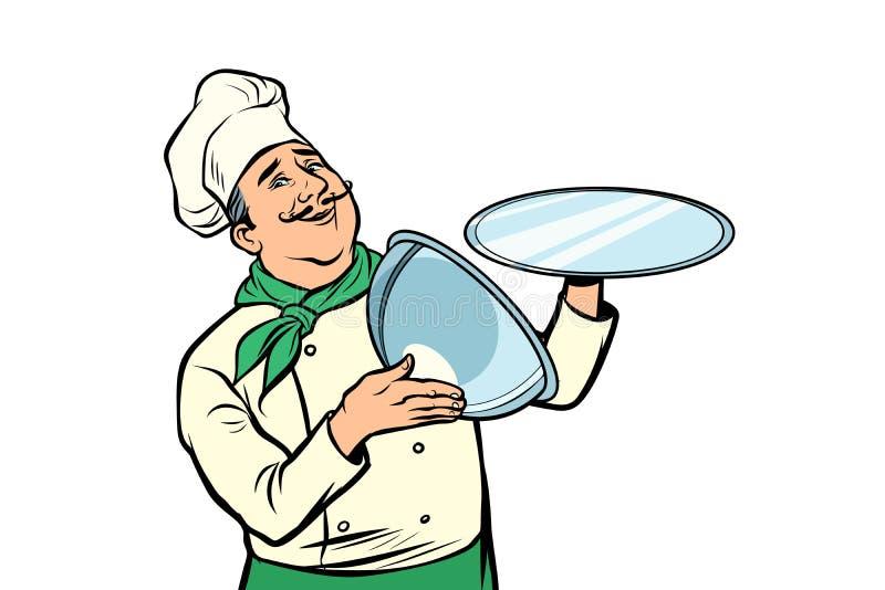 Cocinero con la bandeja con la tapa abierta Aislante en el fondo blanco ilustración del vector