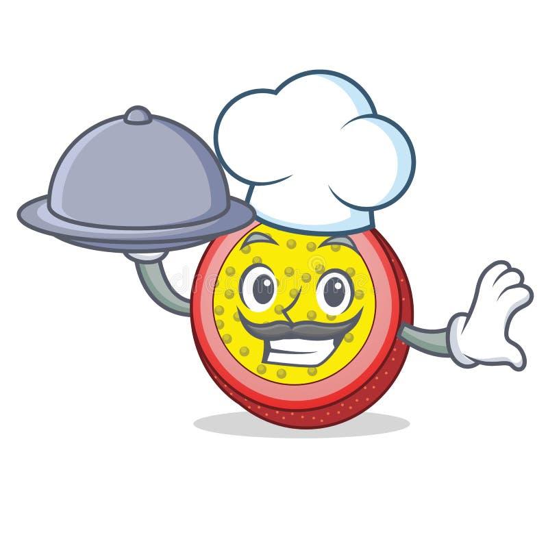 Cocinero con la historieta de la mascota de la fruta de la pasión de la comida stock de ilustración