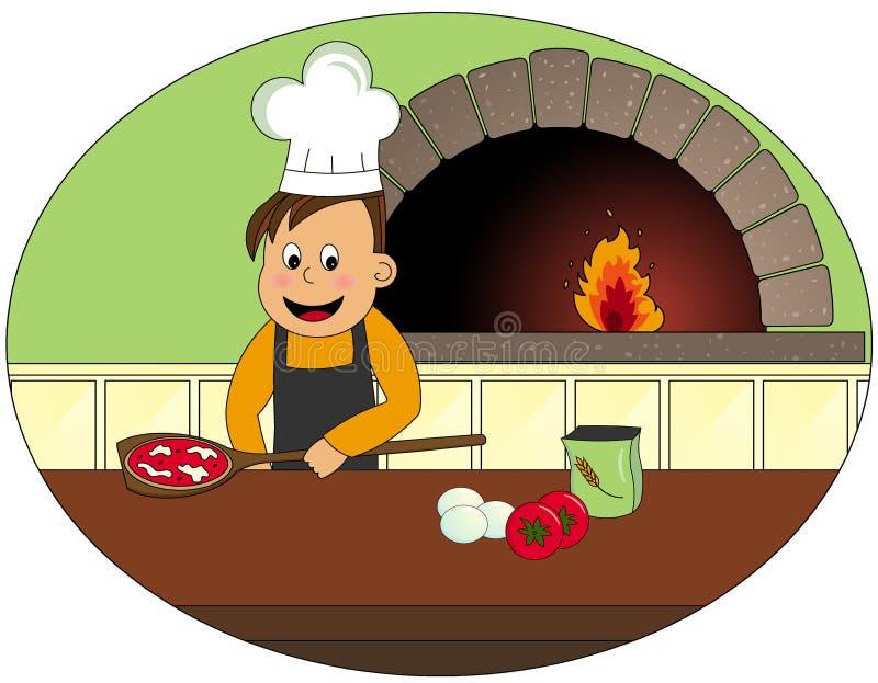 Cocinero con la pizza ilustración del vector