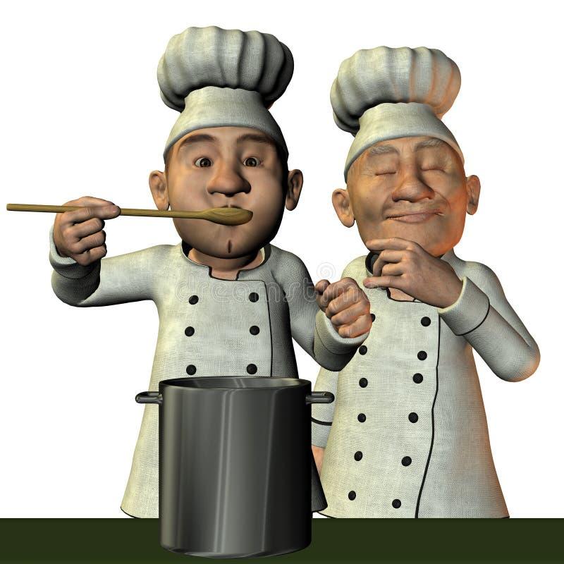 Cocinero con la sopa caliente