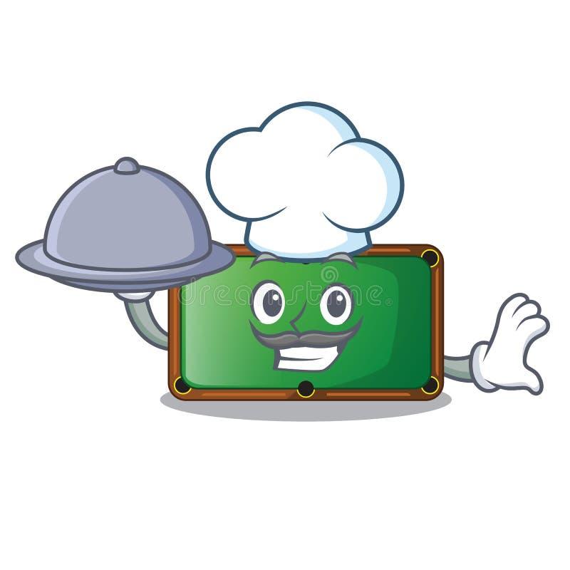 Cocinero con la tabla de billar de la comida en la sala de juegos de la mascota libre illustration