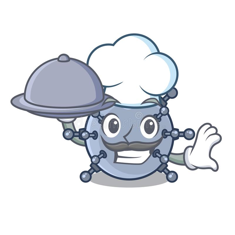 Cocinero con los caracteres del submarino de la mina del juguete de la comida en tablas stock de ilustración