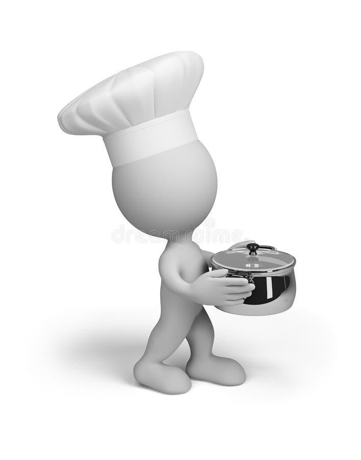 Cocinero con una cacerola ilustración del vector