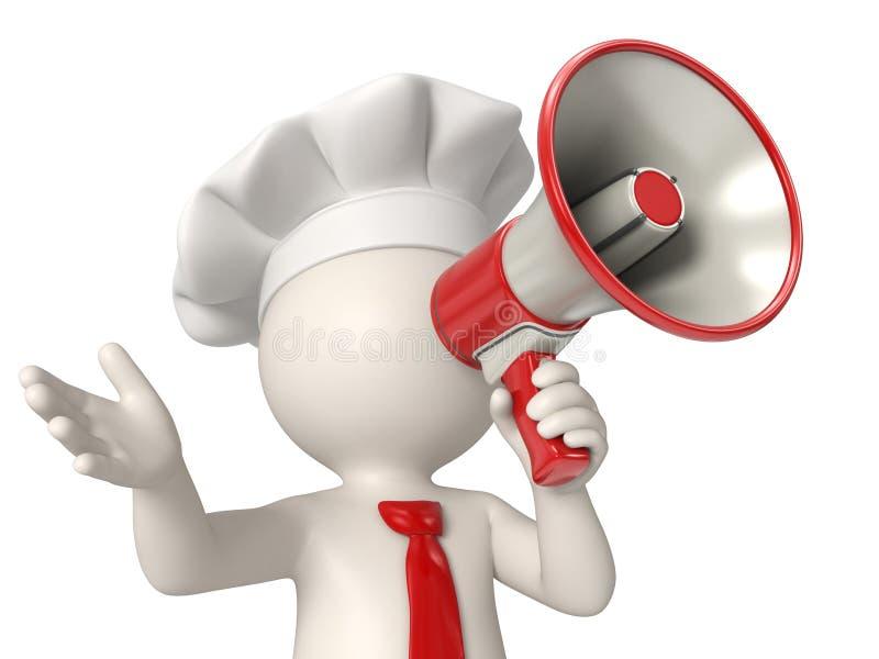 cocinero 3d que habla en megáfono imágenes de archivo libres de regalías