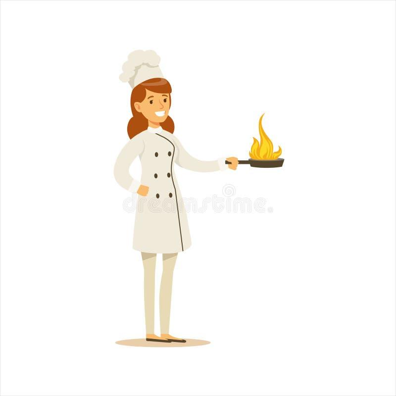 Cocinero de cocinar profesional Working In Restaurant de la mujer que lleva el uniforme tradicional clásico con el sartén ardient libre illustration