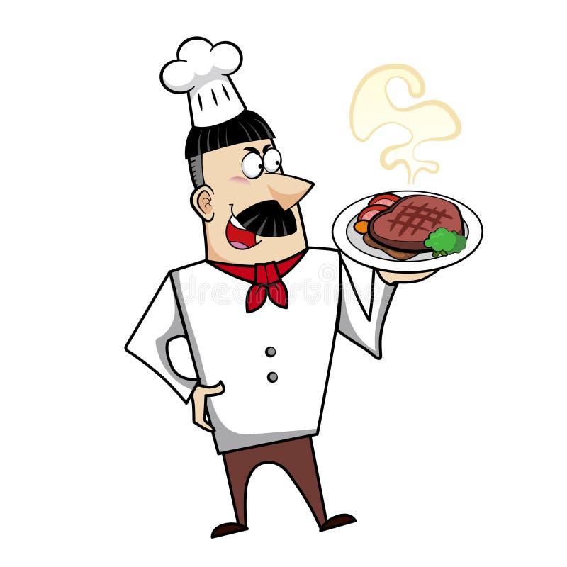 Cocinero de la historieta con la cena del filete stock de ilustración