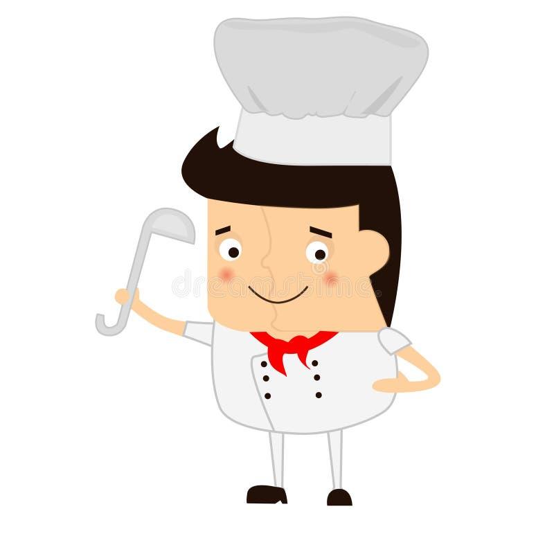 Cocinero de la historieta con la cucharón de sopa en un fondo blanco imagen de archivo libre de regalías