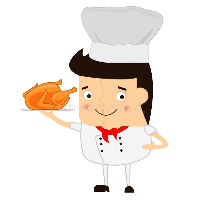 Cocinero de la historieta con la cucharón de sopa en un fondo blanco imagen de archivo