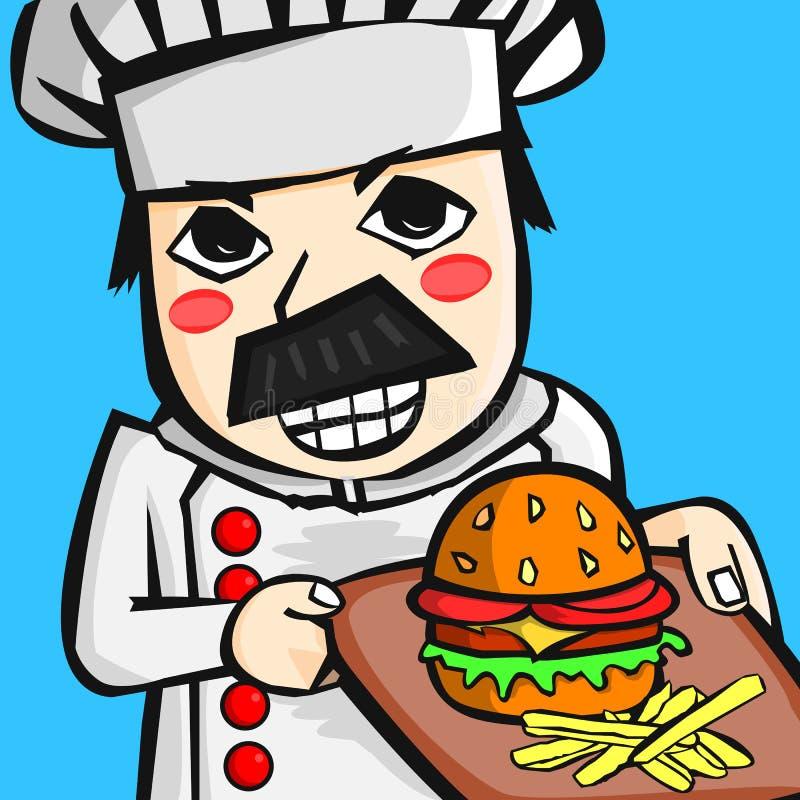 Cocinero de la historieta que sostiene la hamburguesa fotos de archivo