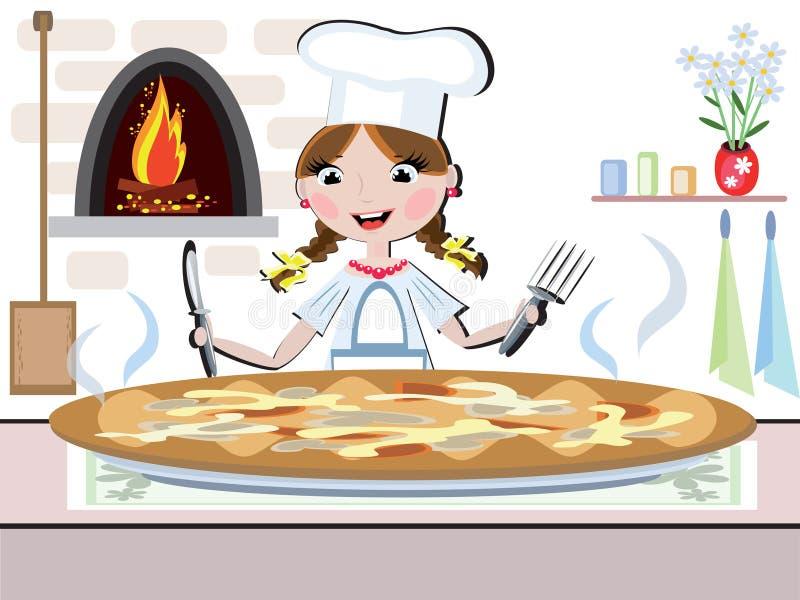 Cocinero de la muchacha, CMYK stock de ilustración
