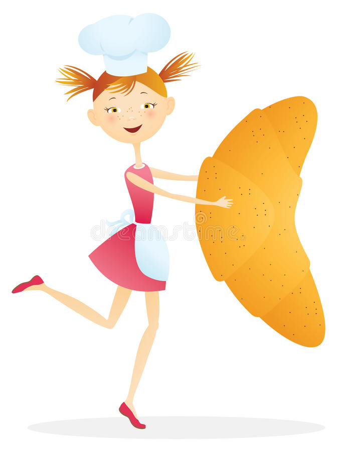 Cocinero de la muchacha con los croissants ilustración del vector