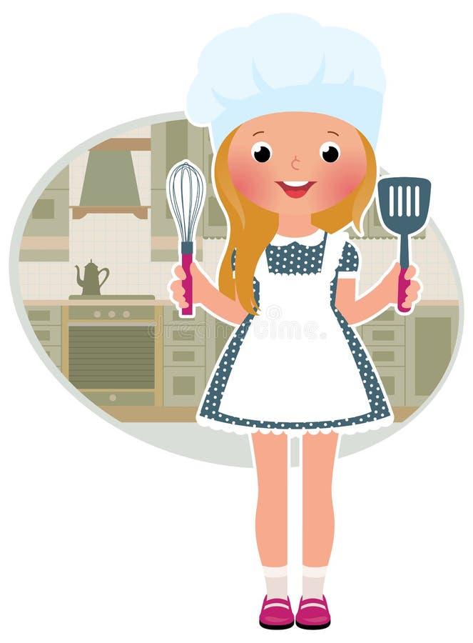 Cocinero de la muchacha en la cocina stock de ilustración
