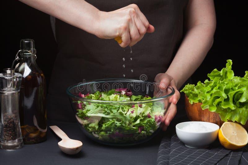 Cocinero de la mujer en la cocina que prepara la ensalada vegetal Consumición sana Adiete el concepto Una manera de vida sana Par foto de archivo libre de regalías