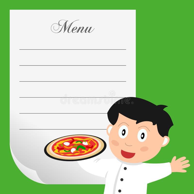 Cocinero de la pizza con el menú en blanco stock de ilustración