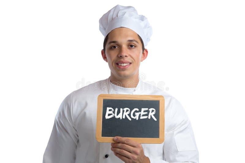 Cocinero de los alimentos de preparación rápida de la hamburguesa de la hamburguesa que cocina al tablero aislado foto de archivo libre de regalías